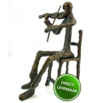Bronzen beeldje De Violist zittend, Galerie en Kunstwinkel Art Unica Amersfoort