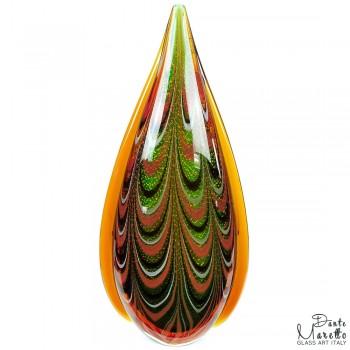 Glassculptuur vlam groen Unica