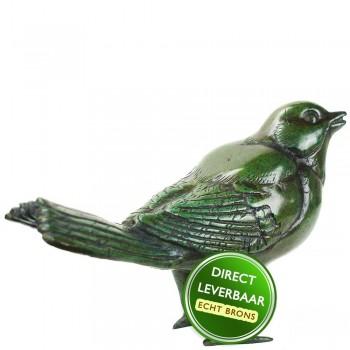 Bronzen beeldje Merel groen Art Unica