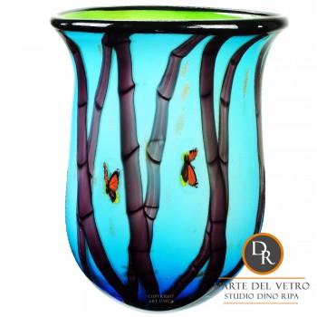 Farfalle unieke geblazen vaas glaskunst Dino Ripa