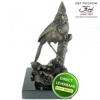 Bronzen beeld Vogel op tak Art Unica