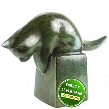 Poes bronzen beeldje groen