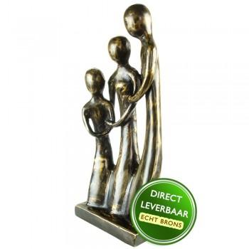 Familiegeluk bronzen beeld