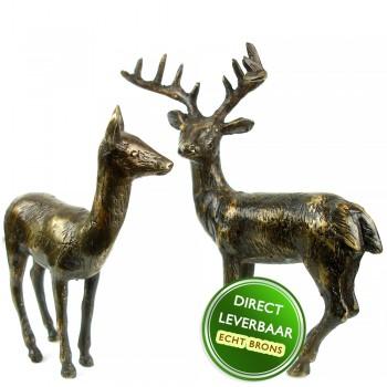 Herten beeldjes brons