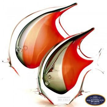 Glaskunst vis rood zwart 20cm Art Unica