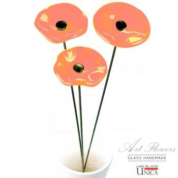 Glaskunst bloemen boeket rose