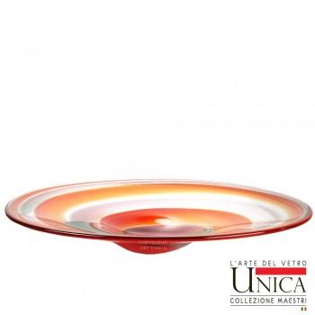 Glazen schaal met spiraal motief rood