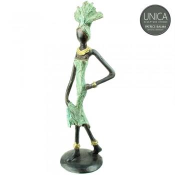 Afrikaans bronzen beeldje vrouw titel Louane