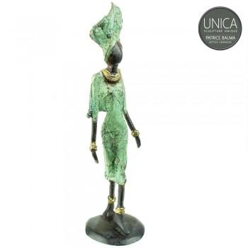 Afrikaans bronzen beeldje vrouw titel Margeaux