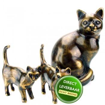 Bronzen beeldjes Poes met 2 Kittens Art Unica Amersfoort