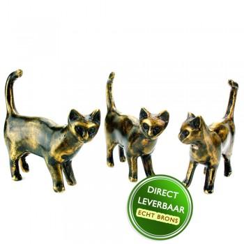 Bronzen beeldjes poesjes kittens Art Unica