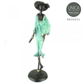 Charleine Afrikaanse vrouw bronzen beeld