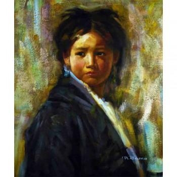 Schilderij Young Tibetan Girl, Galerie en Kunstwinkel Art Unica