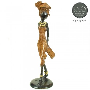 Afrikaans beeldje brons vrouw Zelie