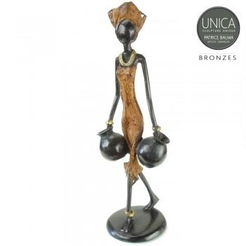 Afrikaanse vrouw beeld brons bruin