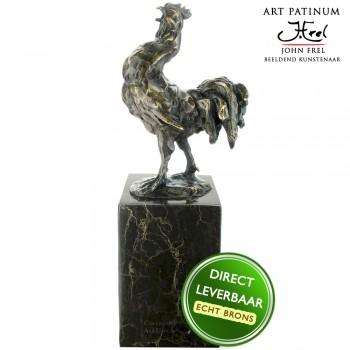 Bronzen beeld haan Art Unica