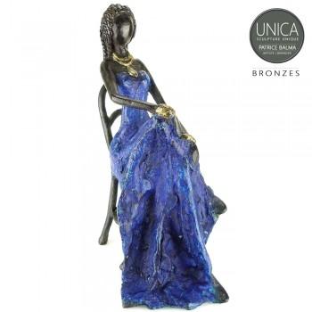 Vrouw Afrikaans zittend brons