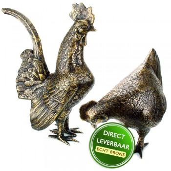 Bronzen beeldjes Kip en Haan Art Unica
