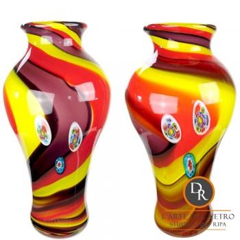 Set vazen glaskunst 43cm rood geel
