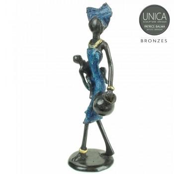 Geborgenheid beeldje brons moeder met kind