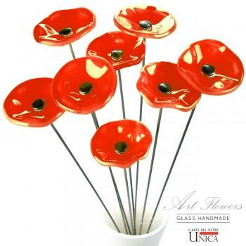 Glaskunst bloemen boeket rood