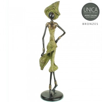 Irene bronzen beeld Afrikaanse vrouw groen