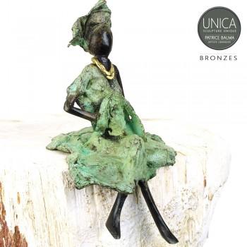 Afrikaans beeldje vrouw zittend titel Florine