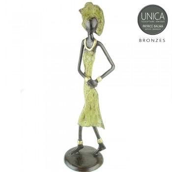 Afrikaanse vrouw bronzen beeldje