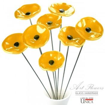 Glaskunst bloemen boeket oranje