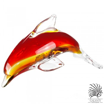 Dolfijn beeldje glas rood