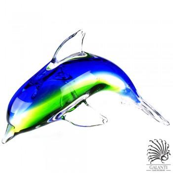 Dolfijn beeldje glas Blauw groen