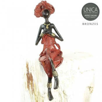 Diamante afrikaanse vrouw beeld brons