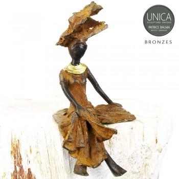 Afrikaans bronzen beeldje vrouw titel Amadine