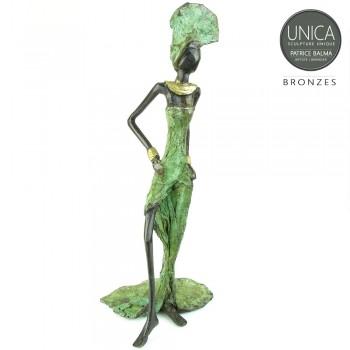 Afrikaanse vrouw bronzen beeld Colette