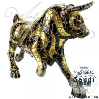 Stier beeld zwart goud