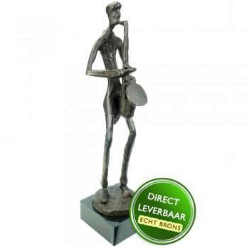 Saxofonist bronzen beeldje Unica