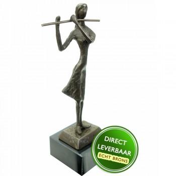 Fluitiste bronzen beeldje Unica
