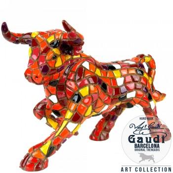 Stier beeldje rood mozaiek