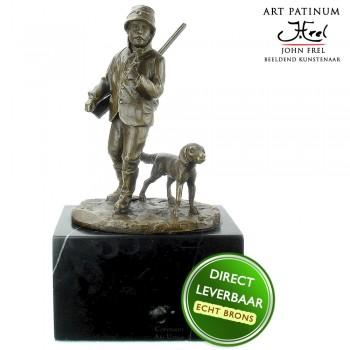 Bronzen beeld Jager met hond