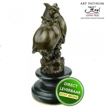Uilen koppel Bronzen beeld Art Unica