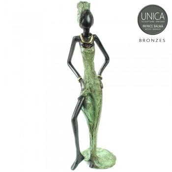 Beeld Afrikaanse vrouw Unica brons
