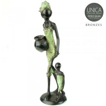 Bronzen beeldje Moeder met kind