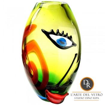 Vaas glaskunst model Faccia Aida Dino Ripa