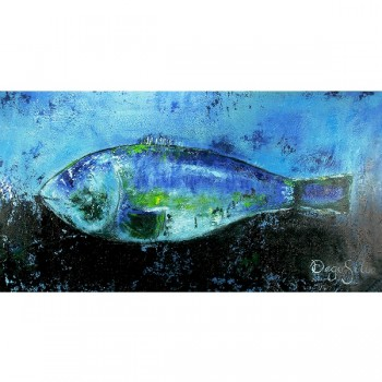 Schilderij Fish in Blue Art Unica