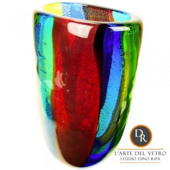 Vaas glas rood groen en blauw