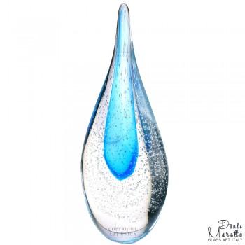 Glassculptuur Vlam Blauw Art Unica