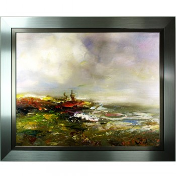 Impressionistisch Schilderij John Frel At The Bay met sierlijst