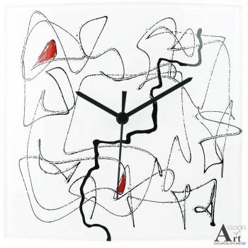 Design Klok glaskunst vierkant