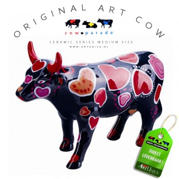 Art Cow Koeienbeeldje keramiek Coo ween of HeartsArt Unica