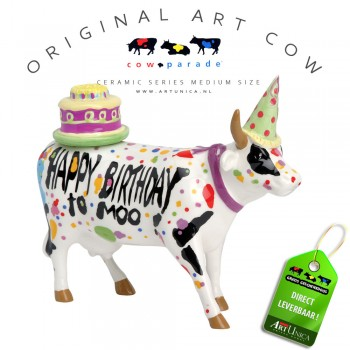 Art Cow Koeienbeeldje keramiek Happy Birthday Art Unica